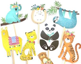 Safari Animal Cupcake Toppers, Wild One Party, Zoo Animals Baby Shower, Party Animal Decor, Animal Stickers, Animal Birthday, Sloth, Panda