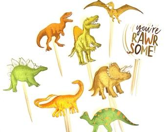 Dinosaur Cupcake Toppers. Dinosaur Party. Dinosaur Party Decor. Dinosaur Sticker Set. Dino Birthday.