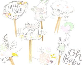 Baby Shower Decor. Hello Little One Cupcake Toppers. Girl Baby Shower. Girl Baby Party Decor. Animal Baby Sticker Set.
