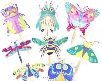 Bug Cupcake Toppers, Bug Party, Bee Decor, Bug Baby Shower, Butterfly Party Decor, Bug Sticker Set, Bug Birthday, Dragonfly, Insect Party