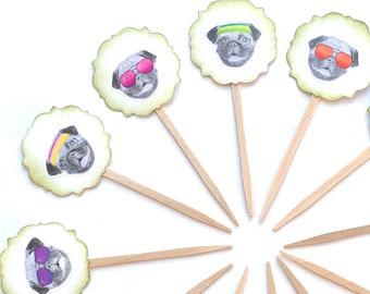 Pug Party Decor, Pug Life, Pug Cupcake Toppers, 80's Birthday, Pug Party, Dog Cupcake, Pug Gift, Dog Party Decor, Pug Lovers