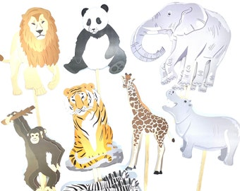 Safari Cupcake Toppers, Zoo Party, Safari Animals, Safari Baby Shower, Safari Stickers, Safari Birthday Decor, Panda, Tiger, Giraffe, Monkey