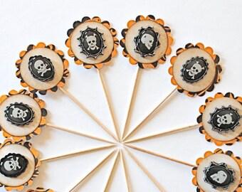Skull Halloween Cupcake Toppers, Orange and Black Halloween Decor