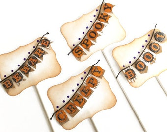 Halloween Banner Cake Toppers, Halloween Party Decor Set of 4