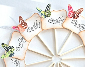 Birthday Wishes Butterfly Cupcake Toppers. Butterfly Cake Topper. Butterfly Party Decor. Butterfly Food Picks.