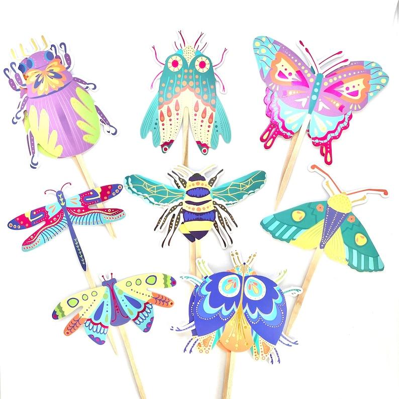 Bug Cupcake Toppers Bug Party Bee Decor Bug Baby Shower image 0