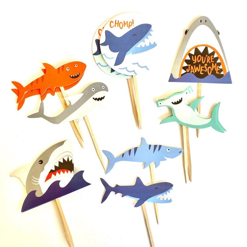 Shark Cupcake Toppers Shark Party Shark Baby Shower Shark image 0