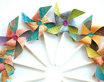 Sequin Paper Pinwheels, Pinwheel Cupcake Toppers