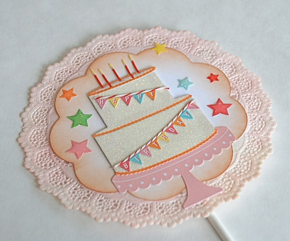 happy birthday banner cake topper etsy