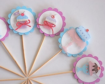 Sweets Party Decor. Sweet Thing Cupcake Toppers.