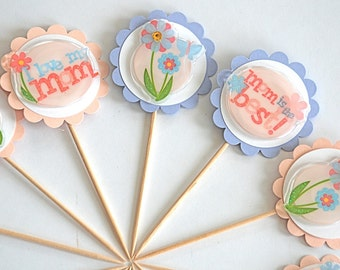 Mother's Day Cupcake Toppers. Mom is the Best. I Love my Mom. Mom Birthday Party Decor.