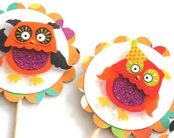 Owl Cupcake Toppers, Halloween Decor Trick or Tweet
