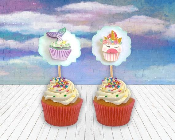 Cute handmade Licorne Gâteau Cupcake Topper Décoration Fête D/'Anniversaire Fournitures