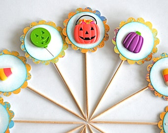 Halloween Candy Cupcake Toppers, Unique Halloween Decor, Trick or Treat Bags