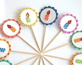 Birthday Cupcake Toppers. Birthday Candles. Birthday Party Decor. Rainbow Party Decor.