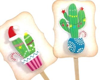 Christmas Cactus, Cactus Cupcake Toppers, Christmas Food Picks