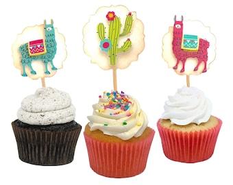 Llama Birthday, Llama Cupcake Toppers, Llama Party, Llama Gifts, Llama Cake Topper