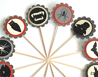 Halloween Cupcake Toppers, Vampires, Spiders, Bats, Owls, Red and Black Halloween Decor