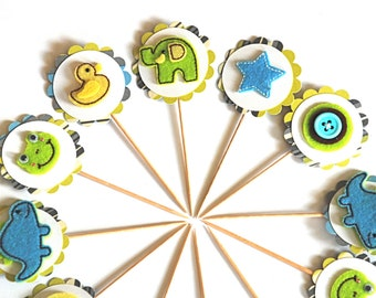 Felt Baby Boy Cupcake Toppers. Baby Shower Cupcake Decor. Elephant Baby. Dinosaur Baby Shower. Frog Decor. Duck Decor.