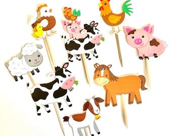 Farm Animal Cupcake Toppers. Animal Party. Farm Party Decor. Farm Animal Sticker Set. Farm Animal Baby Shower Decor.