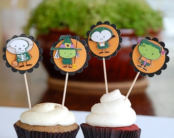 Kids Halloween Cupcake Toppers, Vampire Skeleton Frankenstein Witch Halloween Decor