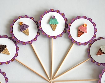 Ice Cream Cone Cupcake Toppers
