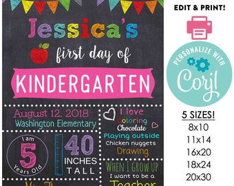 girls or boys back to school sign printable first day editable template diy chalkboard poster 16x20 or 11x14 or 20x30 8x10