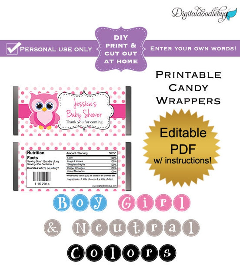 graphic regarding Printable Candy Wrappers identified as Do it yourself editable printable sweet wrappers (No.3) owl woman boy and gender impartial youngster shower favors PDF Electronic Record