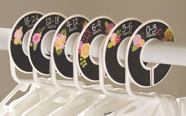 6 Baby Closet Dividers (No.191) Fake Chalkboard Flowers Girl Clothes  Separator Newborn Nursery Organizer Closet Doodles®