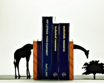 Grazing Giraffe Bookends