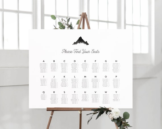 Seating Chart Mountain Wedding by Table Number