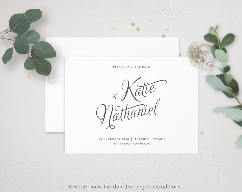 Evelyn Gold Foil Invite Minimal Wedding Modern Save the Date Classic Wedding Calligraphy Save the Date Wedding Calligraphy Acrylic