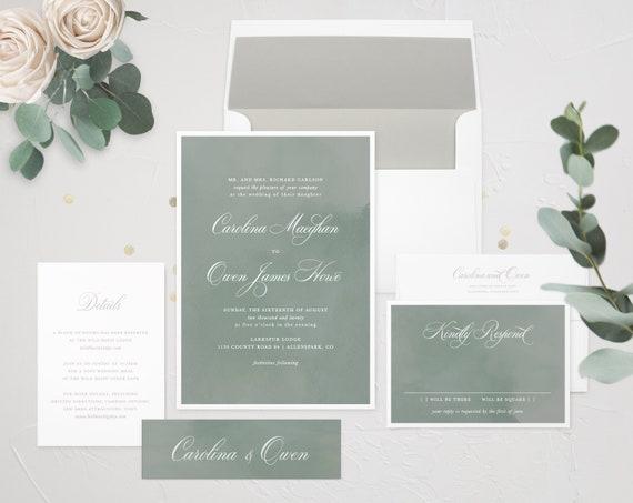 Jeanie Watercolour Wedding Invitation Wedding Calligraphy Watercolor Invitation Garden Wedding Nature Invitation Rustic Invitation