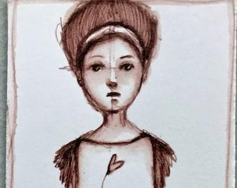 Original Pen and ink watercolor sketch #3