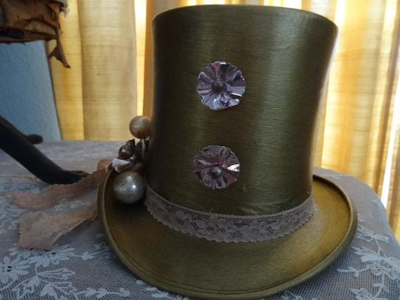 SALE Antique French OOAK Altered Top Hat Circus Ha