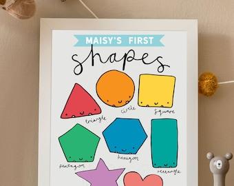 Personalised Shapes Print | Kids Educational Poster | Childrens Nursery Print | Illustrated Shape Print | Personalised Print