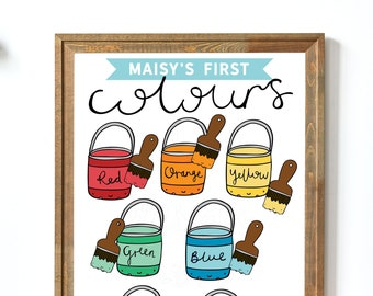 Personalised Colours Print | Kids Educational Poster | Childrens Nursery Print | Illustrated Colours Print | Rainbow Print