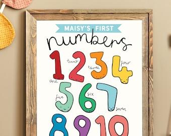 Personalised Numbers Print | Kids Educational Poster | Childrens Nursery Print | Illustrated Numbers Print | Home Learning Print