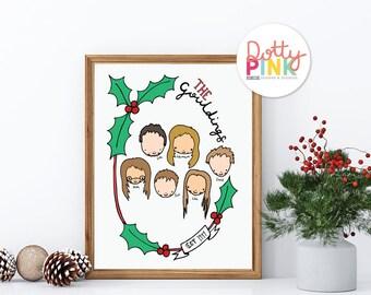 Personalised Family Portrait,  Illustrated Custom Portrait, Christmas Portrait Gift