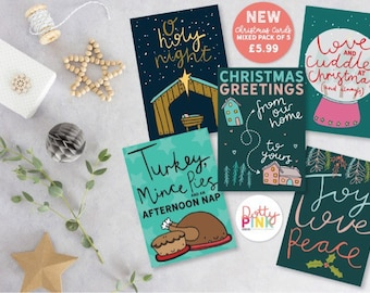 NEW Multipack of 5 Illustrated Christmas Cards