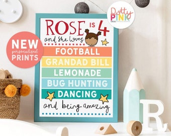 Personalised Birthday Print | Favourite Things Poster | Childrens Birthday Print | Illustrated Birthday Sign | Personalised Nursery Print