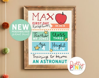 Personalised First Day of School Print | Starting School Poster | 1st Day |  Back To School Sign |  My First Day Reception | New Class Sign