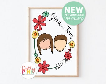 Personalised Family Portrait,  Illustrated Custom Portrait, Couple Portrait Gift