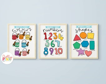 Set of 3 Educational Kids Prints | Personalised Kids Set of Prints | Childrens Nursery Prints | Rainbow Illustrated Prints