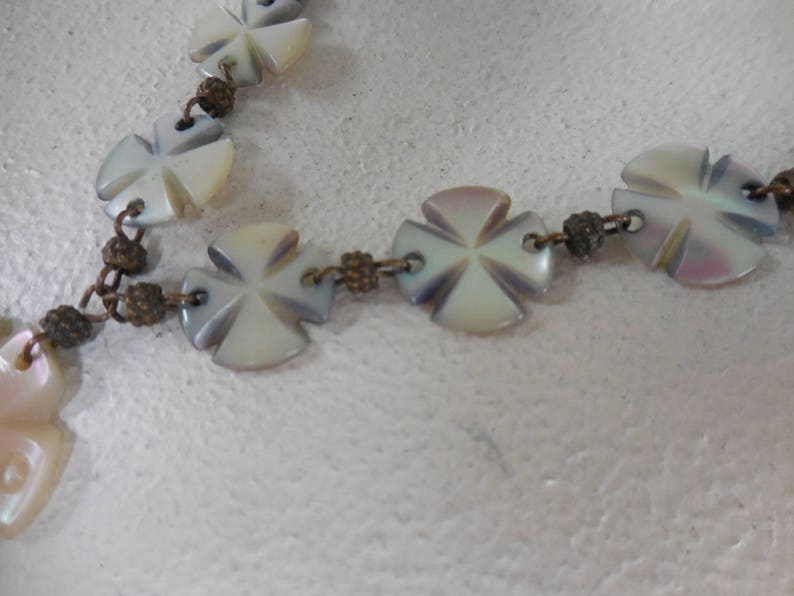 Vintage Carved Mother of Pearl Discs Necklace with Pendan