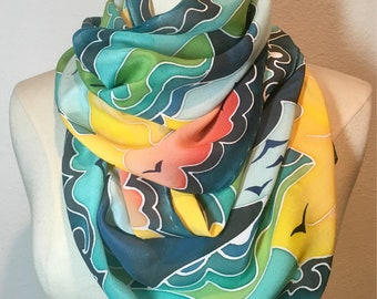 Whale of a Tale, hand painted silk scarf, whale watching, Monterey Bay, sunshine on the water, groovy, aqua, mint, teal, orange silk scarf