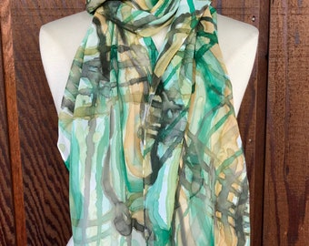 Wavering Plaid hand painted silk, brown, olive, green and white plaid watercolor chiffon scarf