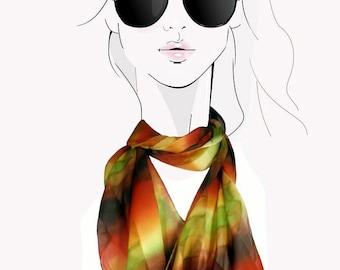 Green, orange, brown, watercolor striped, hand painted silk scarf:  Serengeti Plains