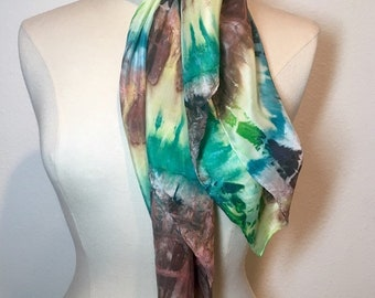 Yesterday, Earth brown, teal and soft pastel yellow stripe scarf, tie dye shibori square silk crepe de chine hand painted scarf
