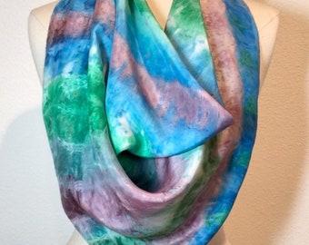 Amazon Mist, Green, blue and mauve silk scarf, tie dye shibori square silk crepe de chine hand painted scarf, head scarf